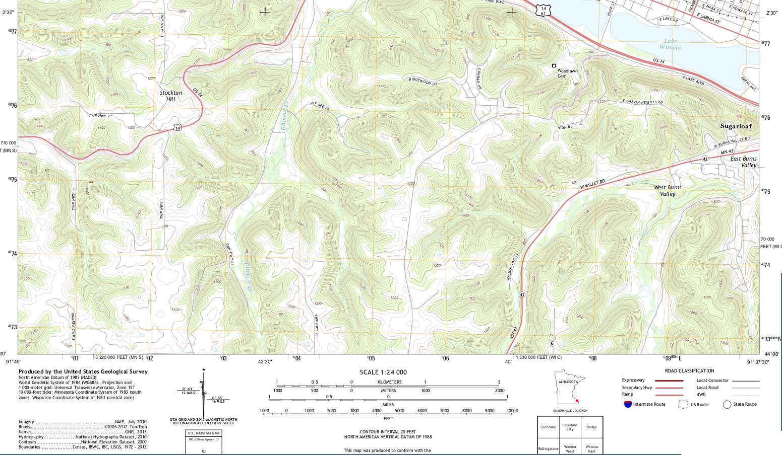 Topographic Map Excerpt From The Usgs 7 5 Series Winona West Quadrangle
