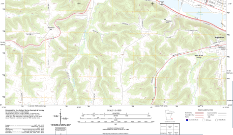 Topographic map, excerpt from the USGS 7.5' Series (Winona West Quadrangle)