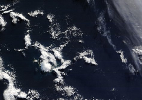 Fair weather at Atlas Cove and on the Laurens Peninsula, Heard Island, taken April 10, 2015.  Nominal resolution is 250 m/pixel.  Image credit: NASA Terra/MODIS.