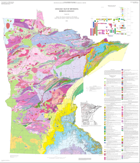 Geologic map of Minnesota bedrock.  Image credit: scaled down from University of Minnesota/Minnesota Geological Survey.