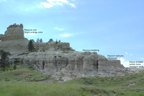Northern portion of Capitol Rock, annotated.  Image credit: Bill Mitchell (CC-BY)