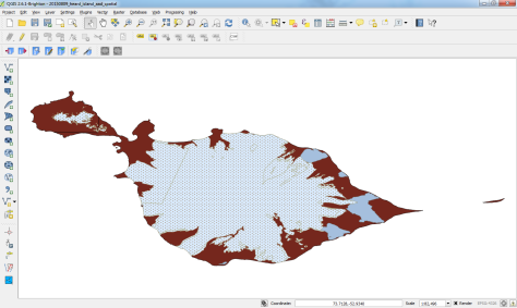 QGIS screenshot, showing Heard Island.  Brown is land/rock, blue are lagoons, and the dotted white is glacier.