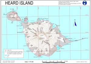 Topographic map of Heard Island, published July, 1999.  Compton Lagoon is prominent in the northeast.  Image Credit: Australian Antarctic Division.