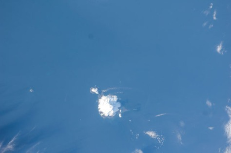 North-up view of Heard Island seen from the International Space Station, Nov. 24, 2011.   Image credit: NASA (public domain)