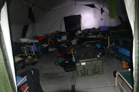 The sleeping tent, which sleeps 14.  Although there are windows, they are kept shuttered all day.  It's a good place to sleep, but not particularly warm.  Image credit: Bill Mitchell (CC-BY).