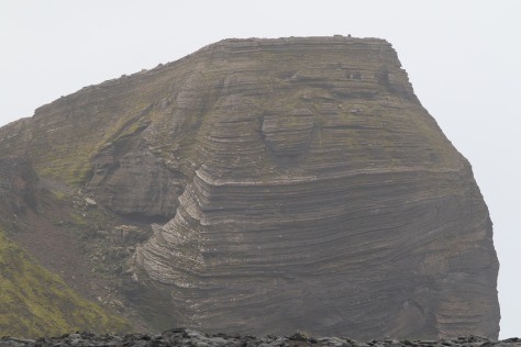 Corinth Head, Heard Island, viewed from the south (further east than the Gigapan was taken).  Layering is clearly visible, and is likely of igneous origin.  Image credit: Bill Mitchell (CC-BY).