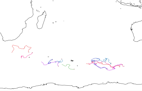 Argo buoy tracks from buoys deployed on the Heard Island Expedition.  Red dots indicate most recent position.  The first set of buoys were deployed between Cape Town, South Africa, and Heard Island (center).  The color scheme has been reused for the second set of buoys, deployed between Heard Island and Fremantle, Western Australia.  Image credit: Bill Mitchell (CC-BY).