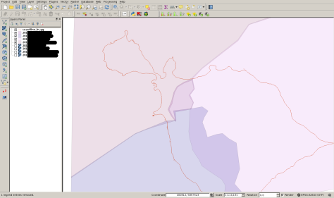 Creating polygons for clipping the satellite imagery using QGIS.  Four polygons are shown here, including the small polygon of much cloudiness.  A fifth dataset was subsequently incorporated.