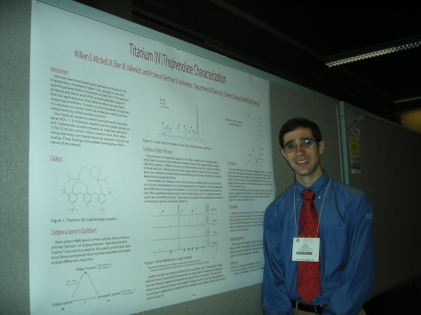 A young scientist presents in the undergraduate poster session of the American Chemical Society spring meeting, 2007.  Image credit: Ellen Valkevich.