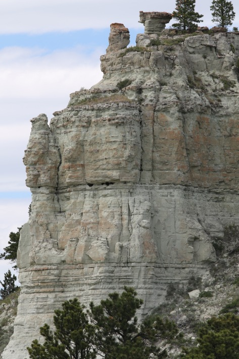 Massive unit of Capitol Rock, seen in the butte immediately to the north of Capitol Rock.  Cliff is ~30–40 m tall.  Image credit: Bill Mitchell (CC-BY).