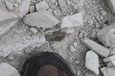 Cherty clast in the basal sediments at Capitol Rock.  Foot for scale.  Image credit: Bill Mitchell (CC-BY).