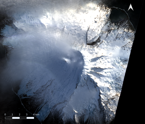 Landslide on Compton Glacier, Heard Island, 2017-07-21.  Image credit: processed by Bill Mitchell (CC-BY), using USGS/Landsat 8 data.