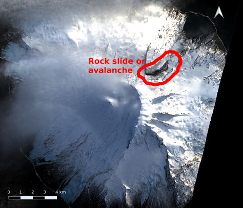 Satellite image of Heard Island with annotation marking the region where the landslide is present.  Image credit: processing and annotation by Bill Mitchell (CC-BY), data from USGS/Landsat 8.