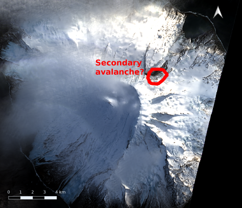 Region of secondary avalanche.  Image processing and annotation: Bill Mitchell (CC-BY), data from USGS/Landsat 8.