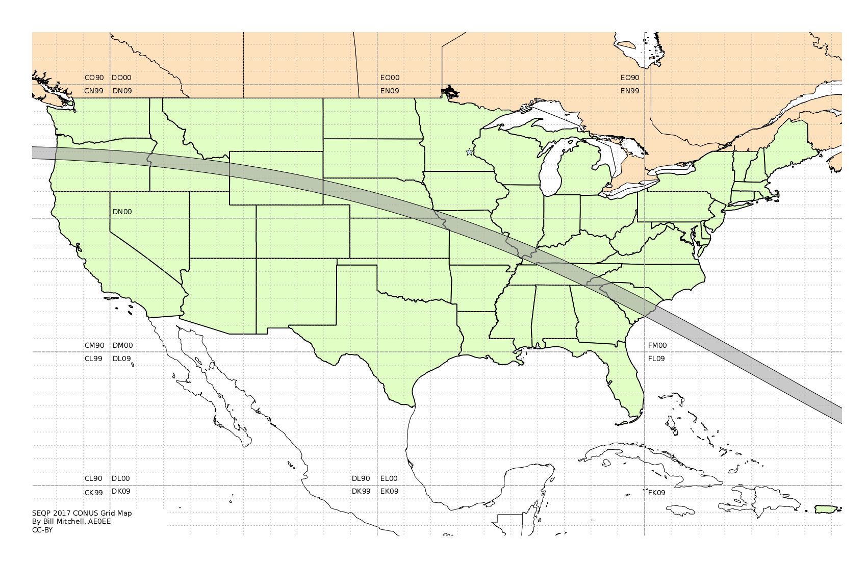 The inquisitive rockhopper map of the continental united states showing the amateur radio grids and path of the eclipse sciox Choice Image