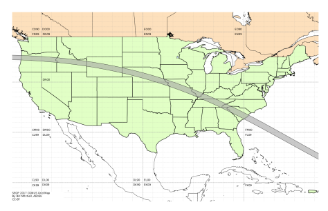 Map of the continental United States showing the amateur radio grids and path of the eclipse.  Image credit: Bill Mitchell (CC-BY).