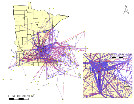 Map of amateur radio packet network traffic received in Bloomington, MN, on one day in January, 2018.  Thicker lines have more packets.  Color corresponds to single-hop path length, with short paths in blue and long paths in red.